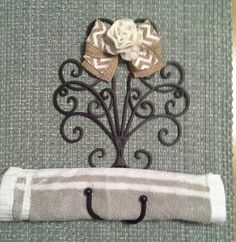 Burlap Decorated Black Iron Home Accent by DSKDesign on Etsy