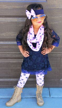 Pink Navy Bow Lace Top Boutique Outfit | Sparkle in Pink
