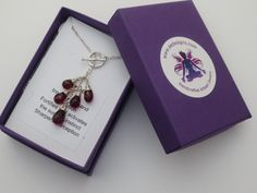 Garnet Gemstone Sterling Silver Toggle Necklace EE by eedesigns05