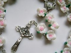 Beautiful Cross Necklaces | Beautiful Soft Cerami Rose Beads Rosary Cross Necklace ...