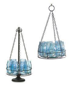 Another great find on #zulily! Aqua Mason Jar Lights & Holder Set #zulilyfinds