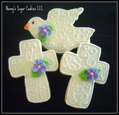Nanny's Sugar Cookies LLC: First Communion or Baptism Cookie Favors Baby Cookies, Iced Cookies, Cute Cookies, Easter Cookies, Sugar Cookies, Christmas Cookies, First Communion Cakes, First Holy Communion, Comunion Cakes