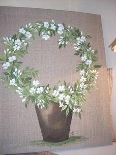 Peinture sur toile de lin 39 le plant d 39 olivier 39 tendance for Peinture lin naturel