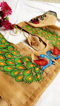 Order contact my whatsapp number 7874133176 Fabric Paint Shirt, Fabric Painting On Clothes, Dress Painting, Painted Clothes, Fabric Art, Saree Painting Designs, Fabric Paint Designs, Hand Painted Sarees, Hand Painted Fabric