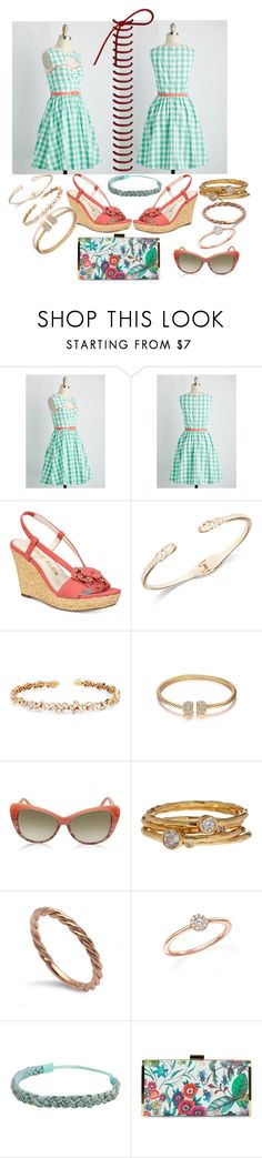 """""""Coral wedges with mint on the side"""" by snowflakeunique ❤ liked on Polyvore featuring Anne Klein, Givenchy, Suzanne Kalan, Balenciaga, Gorjana, My Story, Bloomingdale's, JustFab and Jessica McClintock"""