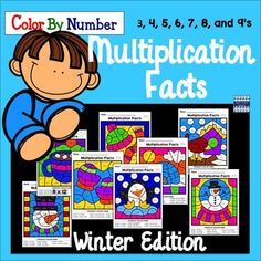 Students will have a blast this holiday season as they practice key math skills in a fun and COLORFUL way! Multiplication Facts Color By Number: Winter Edition includes 8 exciting mystery pictures for celebrating the Winter months in math class!! They can also be sent home during the winter