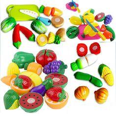 High Quality Children Education Food Cut Fruit Plastic Vegetables Kitchen Slice Kitchen Kids Toys Set Christmas Gift