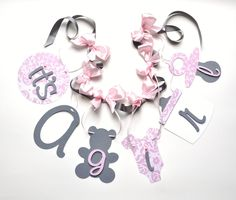 Pink and grey baby shower decorations it's a girl by ParkersPrints
