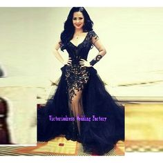 Black Lace Mermaid Prom Dresses With Detachable Train Long Sleeves Deep V Neck Oepn Back Saudi Arabia Dubai Women Party Gowns-in Prom Dresses from Weddings & Events on Aliexpress.com | Alibaba Group