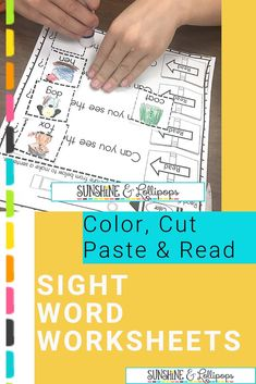 These sight word sentence activities are a great way to build fluency through repetition. Kids color, cut, glue the picture choice next to the incomplete sentence and read each sentence. It's fun learning at it's best with choice involved. Can't beat that! Take a look and see if this is something you might want to use to review, reinforce or learn sight words at school or at home! #Sightwordactivitiesforkindergarten #sightwordpractice #sightwordactivities #sightwordworksheets Sight Word Sentences, Sight Word Worksheets, Sight Words, Fluency Activities, Sight Word Activities, Classroom Activities, School Resources, Teaching Resources, Teaching Ideas