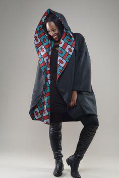 Tuareg - Ankara Print On Dark Grey Herring Bone Wool - Zuvaa ~African fashion, Ankara, kitenge