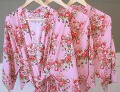 Pink Floral Kimono Bridal Party Robes Available in 8 Different Colors! Starting at just $16. https://www.ellawinston.com/collections/robes #bridesmaidrobe #gettingreadyrobe