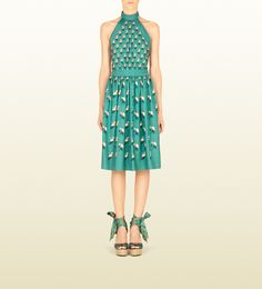 Gucci Lagoon Beach Printed Twill Halter-Neck Dress.