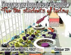 Creating School Libraries of the Future for The Students of Today by Jennifer LaGarde via slideshare School Library Design, Kids Library, School Libraries, Library Ideas, Library Lesson Plans, Library Lessons, Teacher Librarian, Library Activities, School Community