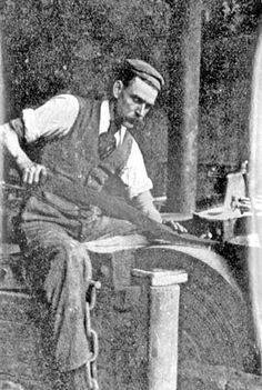A Blade grinder. Grinding a Massive Hunting Knife at Joseph Rodgers and Sons Sheffield late Sources Of Iron, Happy City, Industrial Revolution, Derbyshire, Sheffield, About Uk, Yorkshire, Joseph, Britain
