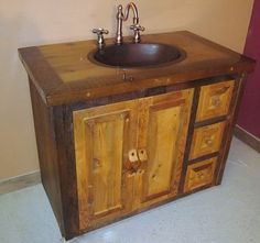 weathered gray reclaimed wood bathroom vanity | reclaimed wood