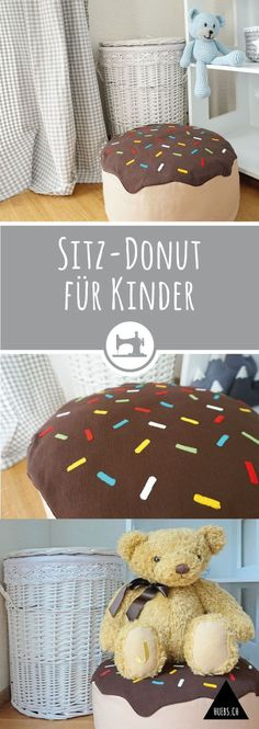 Sitz-Donut für Kinder - gratis DIY Anleitung & Schnittmuster Diy Inspiration, Popular Bags, Baby Kind, Teddy Bear, Toys, Home Decor, Couture, Sewing, Sewing For Kids