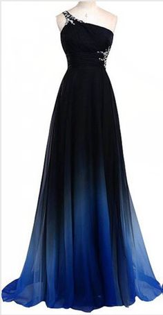 Navy Blue Gradient Long Prom Dresses One Shoulder Royal Blue Ombre Prom Dress,Ombre Backless Bridesmaid Dresses,Prom Gown,Graduation Dress