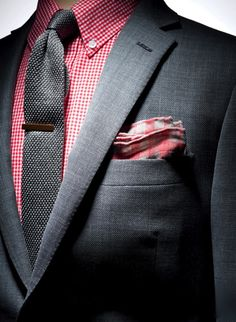 Grey and red, gingham shirt, pocket square and knit tie.