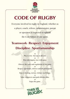 Code of rugby, could use this in everyday life