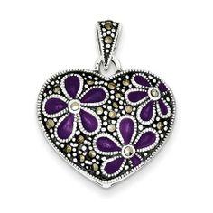 Sterling Silver Marcasite Purple Enamel Flower In Heart Pendant Shop4Silver. $35.72. Approximate Width: 23 MM (0.9 INCHES). Approximate Length: 28 MM (1.09 INCHES)