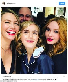 Mad about the girls: January Jones posted a selfie withKiernan Shipka and Christina Hendr...