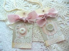 Gift Tags  Shabby Lace Buttons Victorian by HeidiHonigBiene