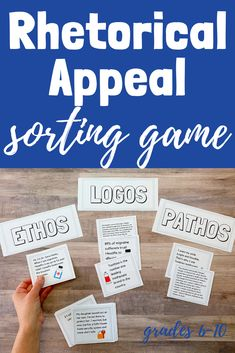 Do you need a fun way to practice ethos, logos, and pathos? Students will love racing against their classmates with this rhetorical appeals sorting game. Each group will sort 30 different cards by the appeal being used. The first group to complete the tas Secondary Resources, School Resources, Teacher Resources, Writing Resources, Middle School Ela, High School, Art Therapy Activities, Fun Activities, Kindergarten Teachers