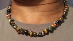 men's mixed Stone necklace by CailiRynCreations on Etsy
