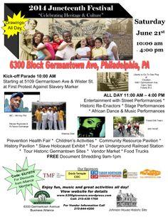 Juneteenth Festival~ Historic Johnson House - 6300 Germantown~ Saturday, June 21, 2014