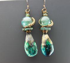 Aqua Ceramic Earrings Rustic Boho Earrings Tribal Earrings Earthy Earrings by ChrisKaitlynJewelry on Etsy