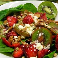 Enjoy spring and Mother's Day with this delicious strawberry, kiwi, and spinach salad.