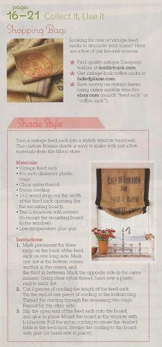 Coffee sack roman shade directions