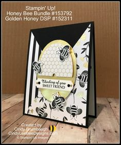 Stampin' Up! Honey Bee Bundle with Golden Honey DSP Video Tutorial – Cindy Lee Bee Designs Fancy Fold Cards, Folded Cards, Cards For Friends, Friend Cards, Sunday School Kids, Golden Honey, Bee Cards, Bee Design, Stamping Up Cards