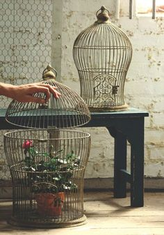 Antique Metal Nesting Wire Bird Cage Set Of 2 Kalalou Birdcages Home Accessories Dec