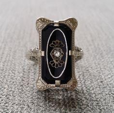 Antique Black Onyx Diamond Ring Filigree Art Deco Engraved Engagement Ring Edwardian Art Nouvea Gothic Bohemian 14K White Gold size 6.5 by PenelliBelle on Etsy https://www.etsy.com/listing/245835671/antique-black-onyx-diamond-ring-filigree