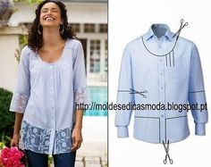 After - befor refashion biby creations Couture tutorial Diy Clothing, Sewing Clothes, Diy Fashion, Ideias Fashion, Fashion Men, Diy Vetement, Altered Couture, Old Shirts, Refashioning