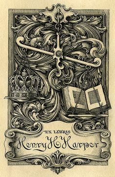 Bookplate of Henry H. Harper Description: States, 'Ex Libris Henry H. Harper;' depicts a scale balancing a crown and an open book. Unsigned.   Format: 1 print, col., 11 x 8 cm.   Source: Pratt Institute Libraries, Special Collections 456 (sc00482)