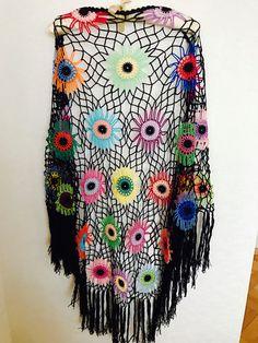 A personal favourite from my Etsy shop https://www.etsy.com/listing/489168754/colorful-crochet-shawl-boho-gypsy-shawl