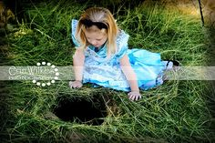 "Creative Photography Halloween Costumes Alice in Wonderland. Photo op to recreate ""Alice peers down the hole.""  Perhaps a pocket watch prop near the hole to complete the look.  The creative types could find a way to illuminate the inside of the hole so the curious could look down and read a quote from Alice. <3"