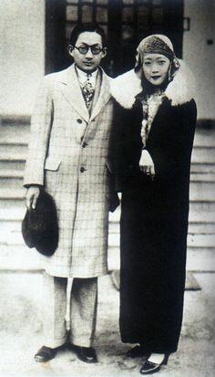 La última emperatriz de China, Wanrong y su hermano Runqi ca. Años veinte