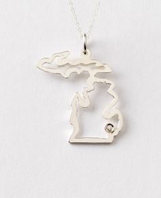 Michigan necklace in sterling silver w/ city diamond. $170