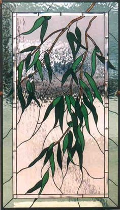 Weeping Eucalyptus by Nancy Braecini. Really pretty Stained Glass Door, Stained Glass Flowers, Stained Glass Designs, Stained Glass Panels, Stained Glass Projects, Stained Glass Patterns, Leaded Glass, Mosaic Glass, Glass Butterfly