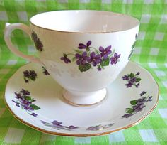 Adorable 'Queen Anne' Purple Violets Tea Cup & by RoyalRummage, $15.00 Tea Cozy, Violets, Queen Anne, Teacups, Chutney, Cup And Saucer, Tea Time, Homemade, Purple