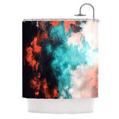 "Caleb Troy ""Orange Sorbet"" Red Blue Shower Curtain"