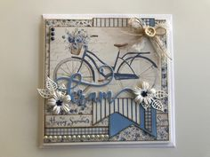 Bicycle Cards, Owl Card, Do It Yourself Crafts, Mini Canvas, Pretty Cards, Mixed Media Canvas, Diy Cards, Homemade Cards, Textiles