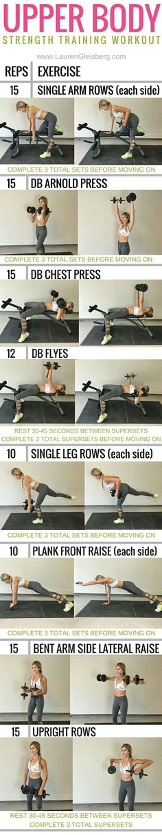 Best workout tip : Workout : ConfidenceKini Challenge: Upper Body Strength Lauren Gleisberg Sixpack Training, Strength Training Workouts, Fitness Workouts, Weight Training, Fitness Tips, Health Fitness, Fitness Plan, Planet Fitness, Body Training