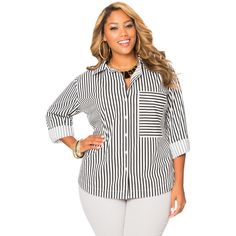 Ashley Stewart Striped Oversized Pocket Shirt ($25) ❤ liked on Polyvore featuring tops, oversized white shirt, womens plus tops, striped shirt, button up shirts and plus size tops