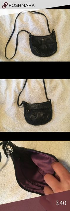 Coach Purse Small Black Coach Purse with purple lining. Lightly used. Coach Bags Crossbody Bags