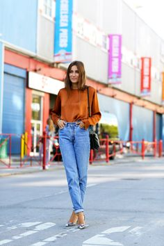 Love the coppery satin top! from Bloglovin and How to wear satin...